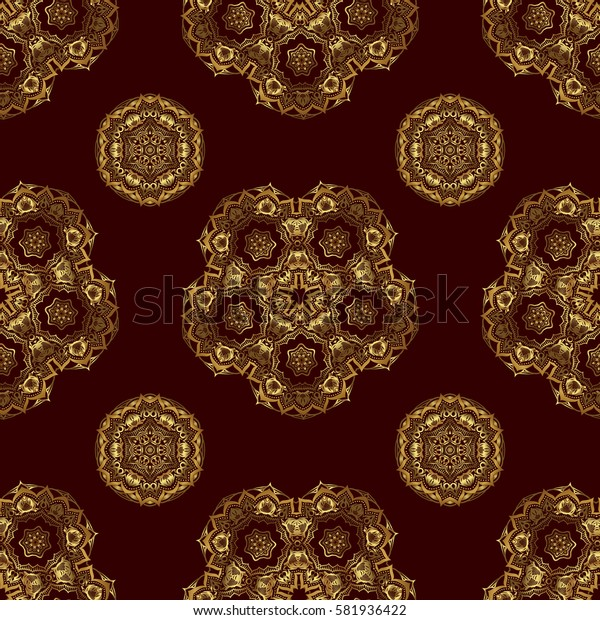 Traditional classic ornament on a brown background. Oriental golden seamless pattern with arabesques and floral elements.