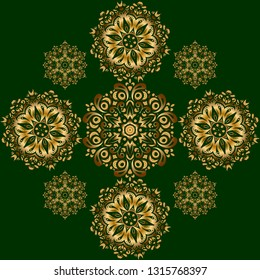 Traditional classic ornament on a green background. Oriental golden seamless pattern with arabesques and floral elements.
