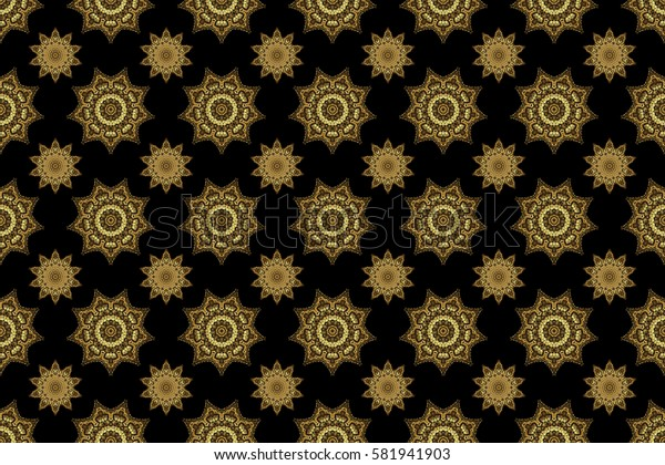 Traditional classic pattern in gold and black colors. Raster illustration. Oriental ornament seamless pattern in the style of baroque on a black background.