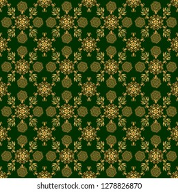 Traditional classic pattern in gold and green colors. Oriental ornament seamless pattern in the style of baroque on a green background.