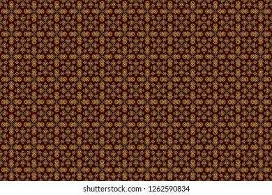 Traditional classic raster golden pattern. Brown and golden pattern. Seamless pattern oriental ornament in baroque style.