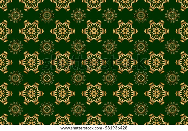 Traditional classic raster golden pattern. Green and golden pattern. Seamless pattern oriental ornament in baroque style.