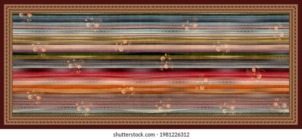 traditional colorful handprinted motif flower and beautiful background textile dupatta design.textile scarf pattern design.