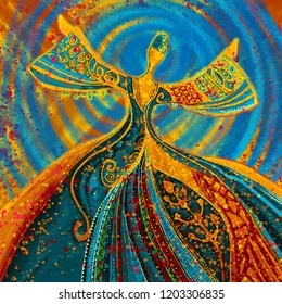 Traditional colorful Sufi and African dance illustration painting artwork