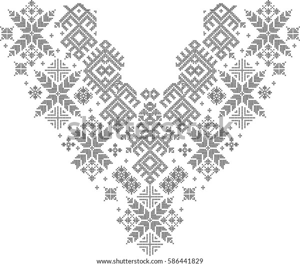 Traditional Crossstitch Pattern Embroidery Neckline Fashion Stock Illustration 586441829