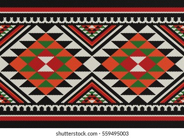 Traditional Diamonds Folk Sadu Arabian Hand Weaving Pattern