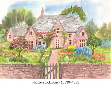 A traditional English cottage surrounded by a flower garden and garden, painted with watercolors on tourist design paper.