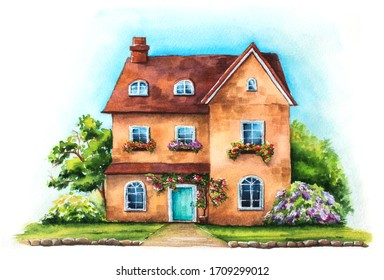Traditional English house on an green lawn isolated on white background. Watercolor hand drawn illustration of British cottage with garden and sky