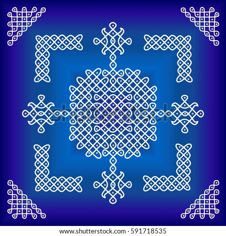 traditional ethnic indian ornament cool colorsのイラスト素材