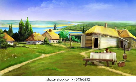 Traditional farm buildings in the old village in the depths of eastern Europe . Digital Painting Background, Illustration in cartoon style character.