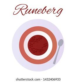 Traditional Finnish pastries. Cake Runeberg. Pie. Runeberg Torte. Raspberry jam