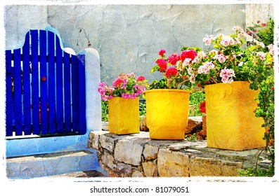 traditional Greece - colorful streets, picture in artistic style