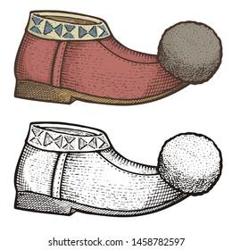 Traditional Greek tsarouchi, woodcut illustration of folk leather moccasin like, male shoe with pompon.