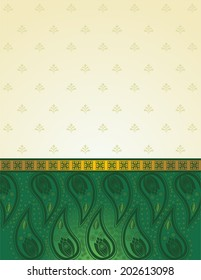 Traditional green and gold paisley Indian saree pattern