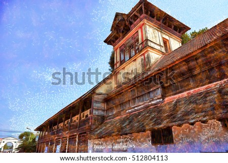 Traditional Home Kerala India Stock Illustration 512804113