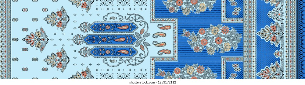 traditional  indian background  paisley  motif  blue sari border