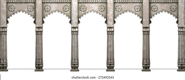 Traditional Indian Column Arc Gallery Isolated On White