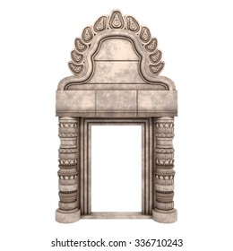 Traditional Indian Column Arc Isolated on White. 3d rendering.