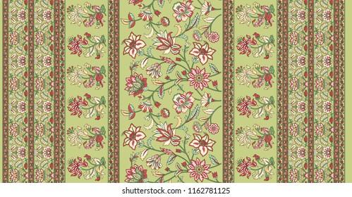 traditional  indian  floral motif sari  border