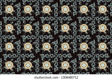 Traditional Indian floral seamless pattern with motley poppy flowers in purple, beige and black colors. Raster illustration.