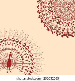 Traditional Indian henna peacock and mandala card design with space for text