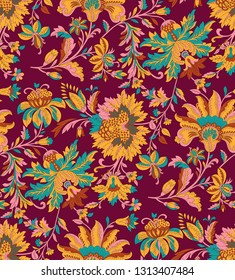 traditional Indian paisley with floral pattern