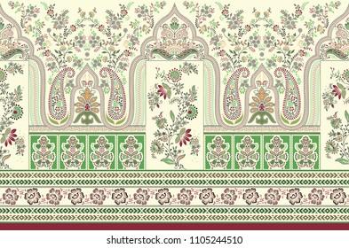 traditional indian paisley motif border