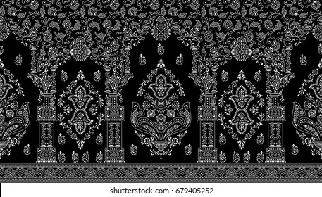 Traditional indian seamless border on black background