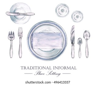 Traditional Informal Place Setting, Watercolor Illustration