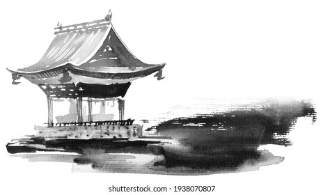 Traditional japanese building on white background. Artistic painting by ink and watercolor in sumi-e style.