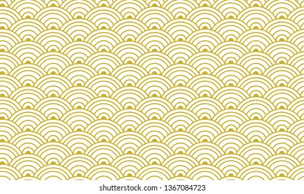 Traditional Japanese Golden Seamless Pattern, Gold and White Background Template, Geometric Vintage Ornament.