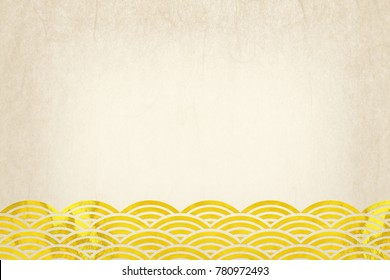 traditional Japanese wave pattern white and gold paper background