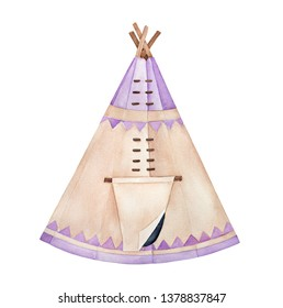 Traditional light brown tipi with wooden poles and cover, decorated with pastel purple triangle ornament. North America's indian tent. Handdrawn watercolour drawing, cutout clipart element for design.