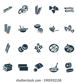Traditional meal icons set with ravioli pasta, tortiglioni pasta, stelle pasta and other shape elements. Isolated illustration traditional meal icons.