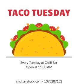 Traditional mexican fastfood taco tuesday poster. Tasty beef meat, salad, tomato and carrot sticks in delicious tacos with sign Taco Tuesday. illustration for food truck or restaurant party.