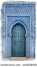 Traditional Moroccan style design of an ancient wooden entry door. In the old Medina in Marrakech, Morocco. Typical, old, blue intricately carved, studded, Moroccan riad door.  Watercolor Illustration