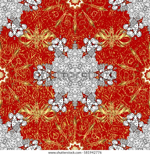 Traditional orient ornament. Seamless classic golden pattern. Seamless pattern on red background with golden elements and white doodles. Classic vintage background.