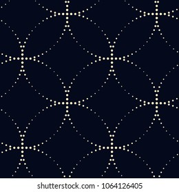 Traditional oriental ornament in dot line design. Simple geometric allover golden motif on a indigo. Printing block for interior textile, fabric, wallpaper. Look the same 741783697.