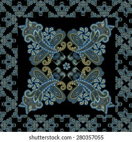 Traditional ornamental seamless background. Paisley black design. Eastern style pattern