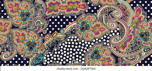traditional paisley and backgound pattern