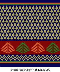 Traditional Patola red and blue colour border design