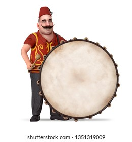 Traditional Ramadan Drummer and drum 3d rendered