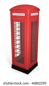 Traditional red british phonebooth. High quality 3D rendered image
