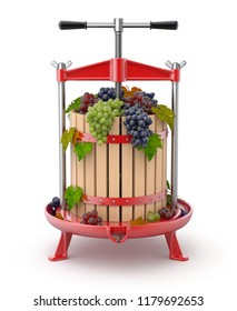 Traditional red fruit or wine press with grapes inside - 3D illustration