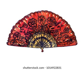 Traditional red Spanish fan with black flowers, hand painted watercolor illustration isolated on white