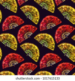 Traditional red and yellow Spanish fan with black flowers, black background, seamless pattern design, hand painted watercolor illustration