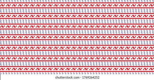 Traditional Romanian folk art knitted embroidery pattern; sewing pattern