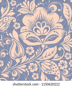 Traditional russian flower seamless pattern . Ornament in hohloma style on grunge burlap background