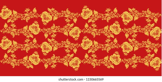 Traditional russian hohloma art, flower lines seamless pattern . Russian traditional ornament in red and gold colors. Classic khokhloma floral background