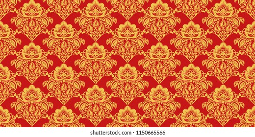 Traditional russian hohloma style seamless pattern . Russian traditional ornament in red and gold colors. Classic khokhloma floral background